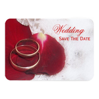 Gold Rings Rose Petals Save The Date Wedding 3.5x5 Paper Invitation Card