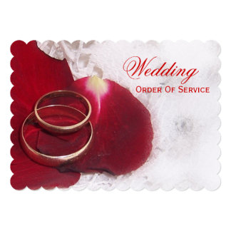 "Gold Rings Rose Petals Wedding Order Of Service 5"" X 7"" Invitation Card"