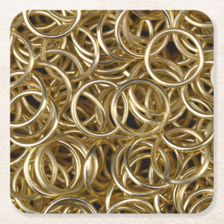 Gold Rings Square Paper Coaster