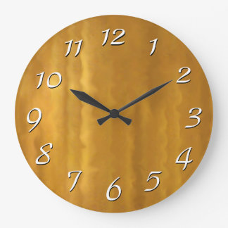 Gold Ripples Retro Wall Clock Large White Numbers