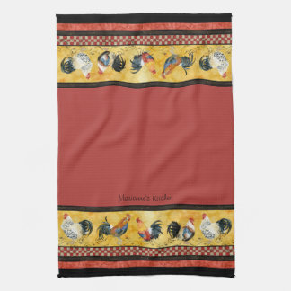 Gold Roosters Red & Tan Check Swirl Kitchen Kitchen Towel