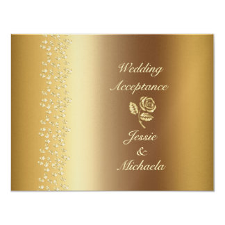 Gold Rose and Hearts Wedding RSVP Card