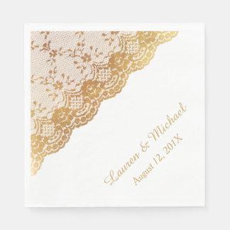 Gold Rose Border Faux Lace Wedding Napkin