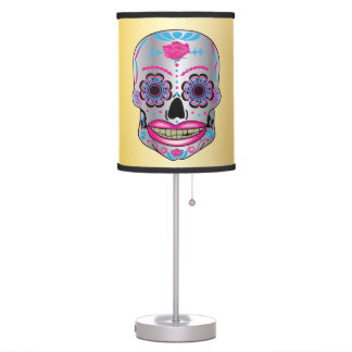 Gold Rose Candy Skull Lamp