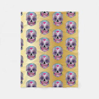 Gold Rose Candy Skull Pattern on Fleece Blanket