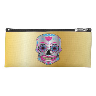 Gold Rose Candy Skull Pencil Case