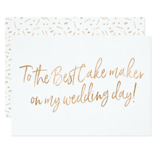 Gold Rose Card for Wedding Baker