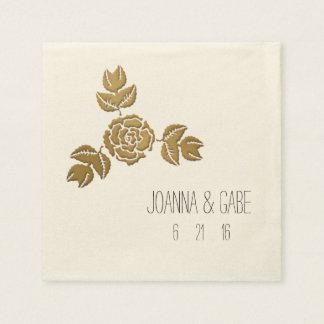 Gold Rose Floral Corner Border Napkins Disposable Napkin