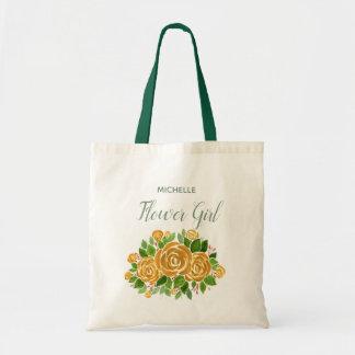 Gold Rose Flower Girl Tote Bag
