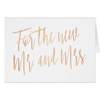 """Gold rose """"For the new mr. and mrs."""" Card"""