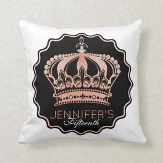Gold Rose Glitter Crown Throw Pillow