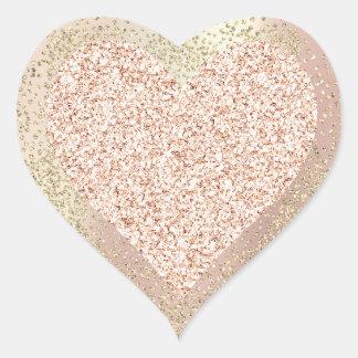 Gold Rose Glitter Girly Blush Lux Heart Sweet Brid Heart Sticker