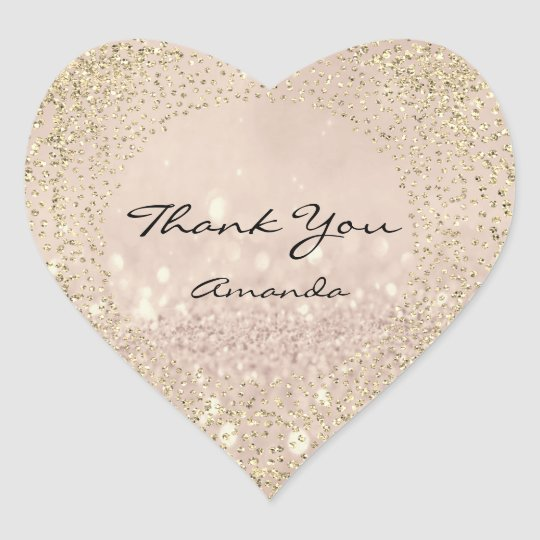 Gold Rose Glitter Name Blush Pink Heart Thank Heart Sticker