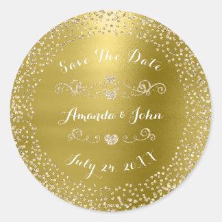 Gold Rose Glitter Save the Date Green Mustard Mint Classic Round Sticker