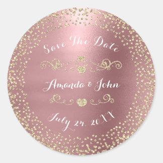 Gold Rose Glitter Save the Date Mauve Pink Blush Classic Round Sticker