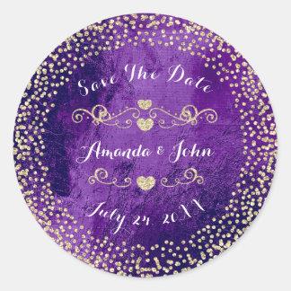 Gold Rose Glitter Save the Date Purple Plum Glass Classic Round Sticker