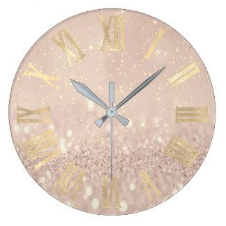 Gold Rose Gold Confetti Glitter Roman Numers Large Clock