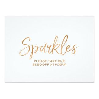 """Gold Rose Lettered """"Sparkles"""" Send Off Sign 6.5"""" X 8.75"""" Invitation Card"""