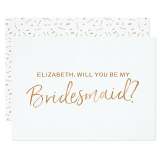 """Gold Rose Lettered """"Will you be my bridesmaid"""" Card"""