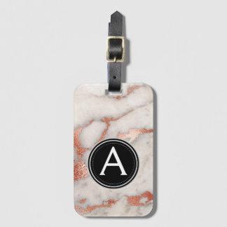 Gold Rose Marble Monogram Luggage Bag Tag