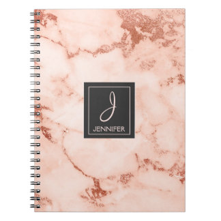 Gold Rose Marble Monogram Notebook