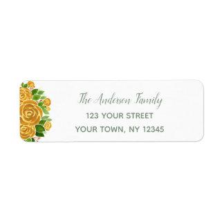Gold Rose Return Address Label