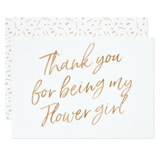 """Gold Rose """"Thank you for being my flower girl"""" Card"""