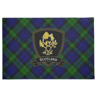 Gold Rose Thistle Tartan Plaid Doormat