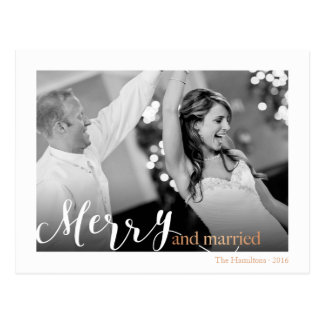 "Gold Rose Typography ""merry and married"" photo Postcard"