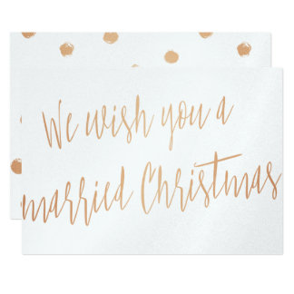 """Gold rose """"We wish you a married Christmas"""" Card"""
