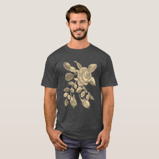 Gold Rose with Buds on Grey Plus Size up 6x T-Shirt