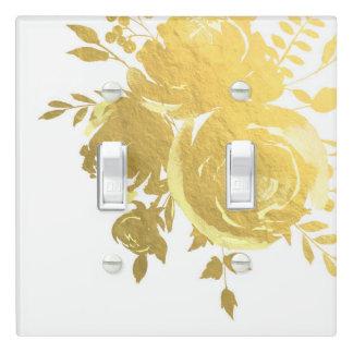 Gold Roses Faux Foil Elegant Modern Floral Wedding Light Switch Cover