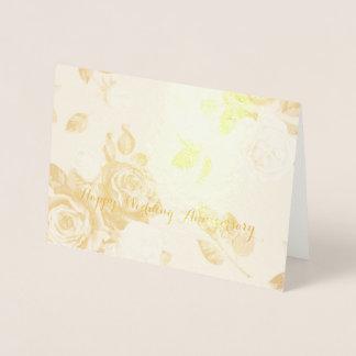 """Gold  Roses Foil Card, Standard (5""""x7"""") Foil Card"""