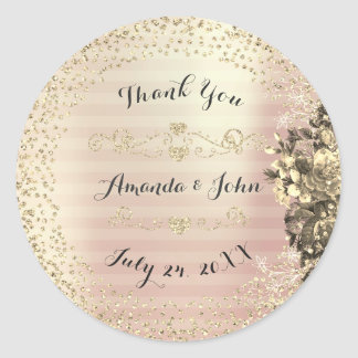 Gold Roses Glitter Save the Date Thank Sepia Classic Round Sticker