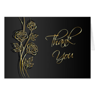 Gold roses on black, swirls Wedding Thank You Card