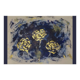 Gold roses on navy poster