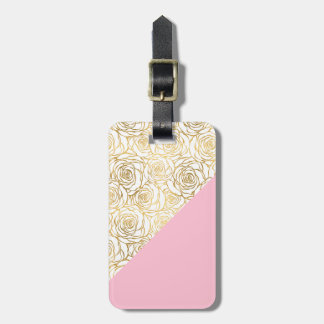 Gold Roses with Pink Luggage Tag