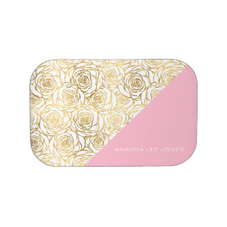 Gold Roses with Pink Lunch Box