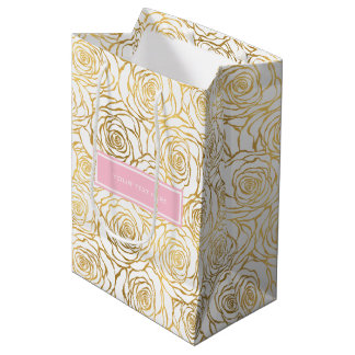 Gold Roses with Pink Medium Gift Bag