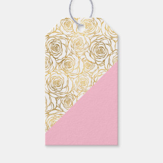 Gold Roses with Pink Pack Of Gift Tags