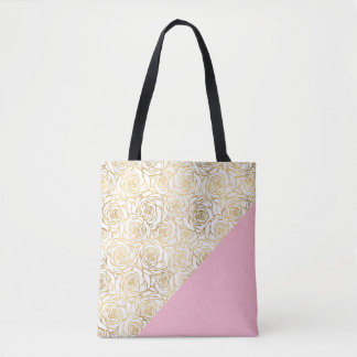 Gold Roses with Pink Tote Bag