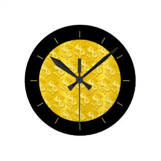 $ Gold $ Round Clock