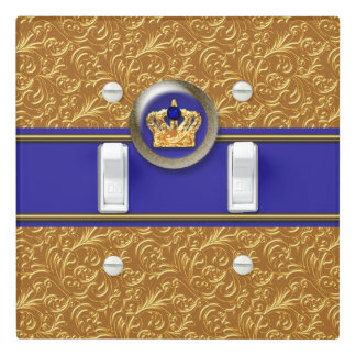 Gold & Royal Blue Crown Prince Nursery Bedroom Light Switch Cover