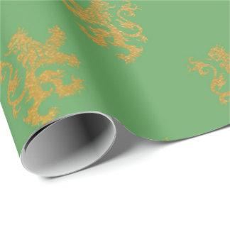 Gold Royal Calk Fairly King Purple Plum Heraldic Wrapping Paper