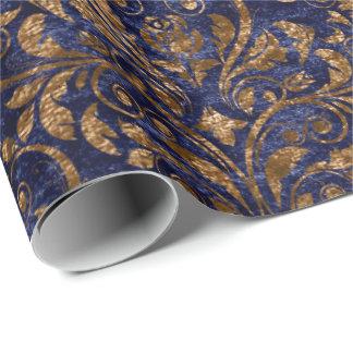 Gold Royal Damask Crushed Velvet Blue Navy Copper Wrapping Paper