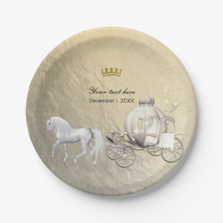 Gold Royal Princess Storybook Carriage & Unicorn 7 Inch Paper Plate