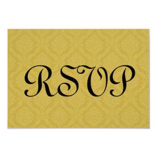 Gold RSVP Damask Wedding S210 Card