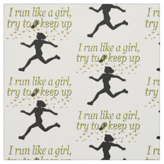 GOLD RUN LIKE A CHAMPION TRACK AND FIELD DESIGN FABRIC