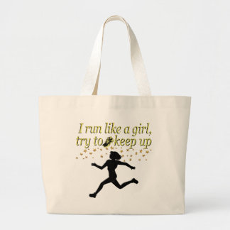 GOLD RUN LIKE A CHAMPION TRACK AND FIELD DESIGN LARGE TOTE BAG