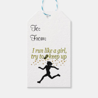 GOLD RUN LIKE A CHAMPION TRACK AND FIELD DESIGN PACK OF GIFT TAGS